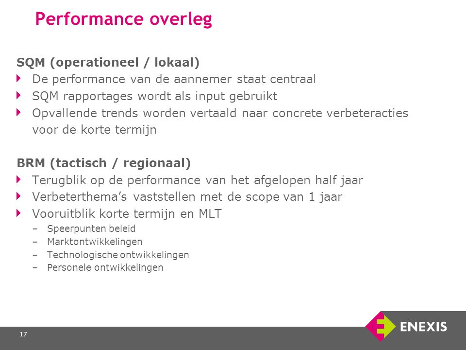 Performance overleg SQM (operationeel / lokaal)