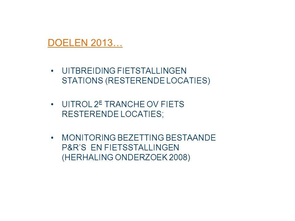 DOELEN 2013… UITBREIDING FIETSTALLINGEN STATIONS (RESTERENDE LOCATIES)
