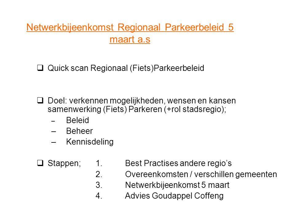 Netwerkbijeenkomst Regionaal Parkeerbeleid 5 maart a.s