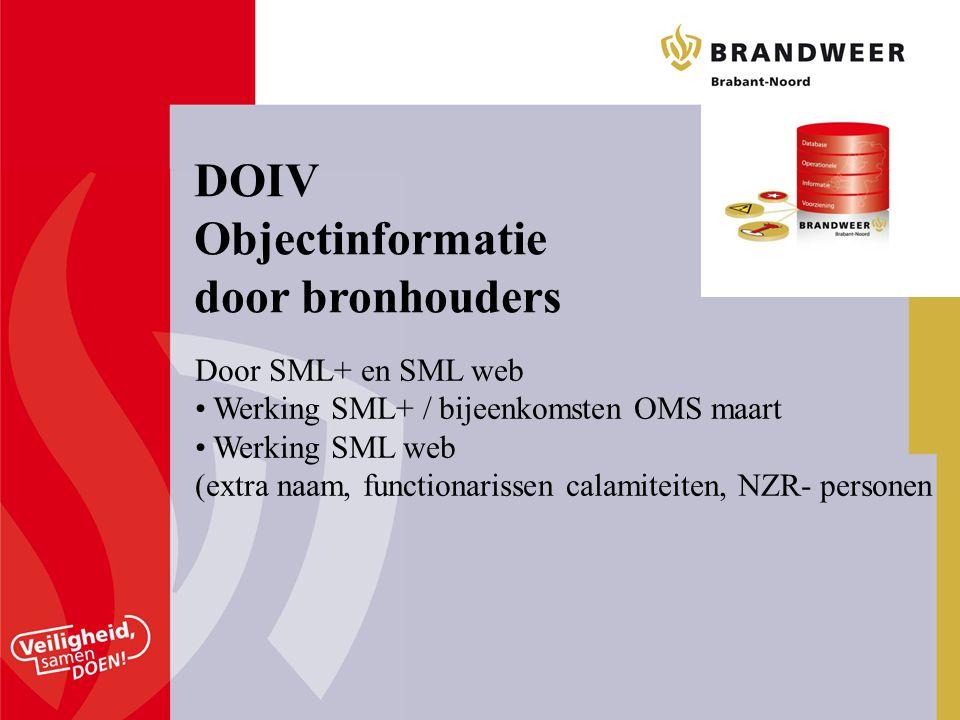 DOIV Objectinformatie door bronhouders Door SML+ en SML web