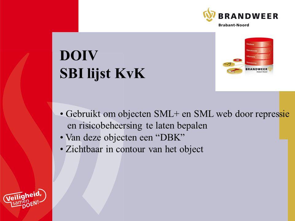 DOIV SBI lijst KvK Gebruikt om objecten SML+ en SML web door repressie