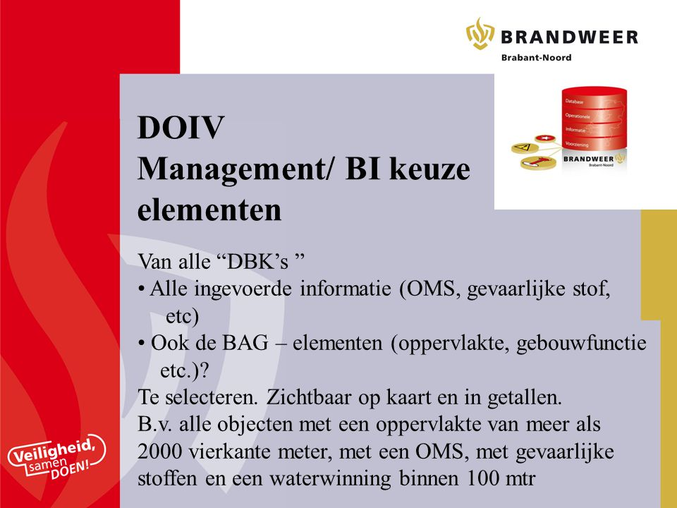 DOIV Management/ BI keuze elementen Van alle DBK's