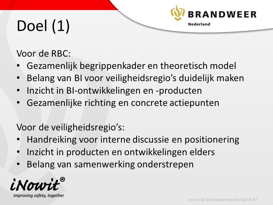 Doel (1) Voor de RBC: Gezamenlijk begrippenkader en theoretisch model