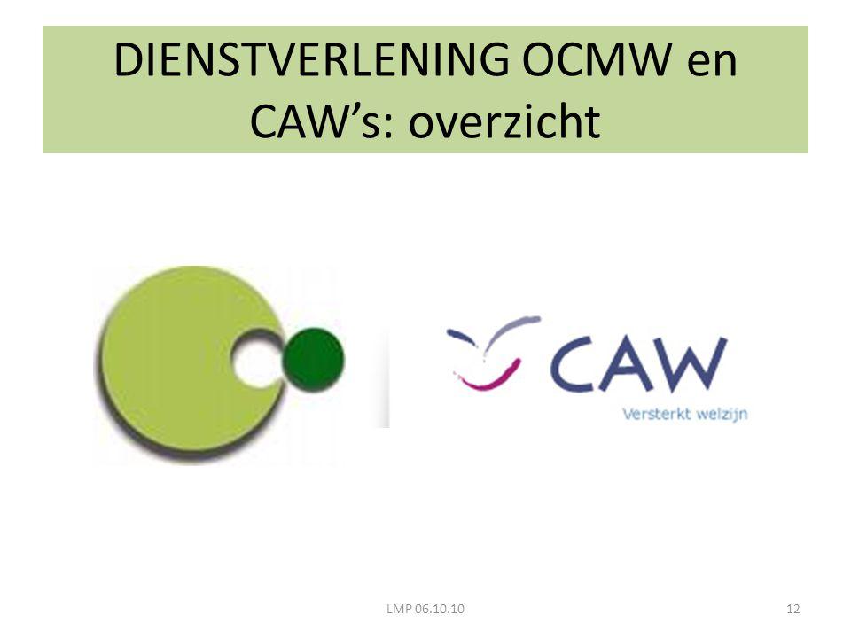 DIENSTVERLENING OCMW en CAW's: overzicht