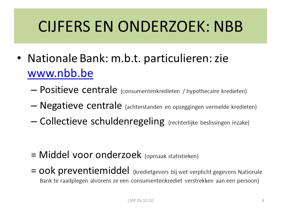 CIJFERS EN ONDERZOEK: NBB