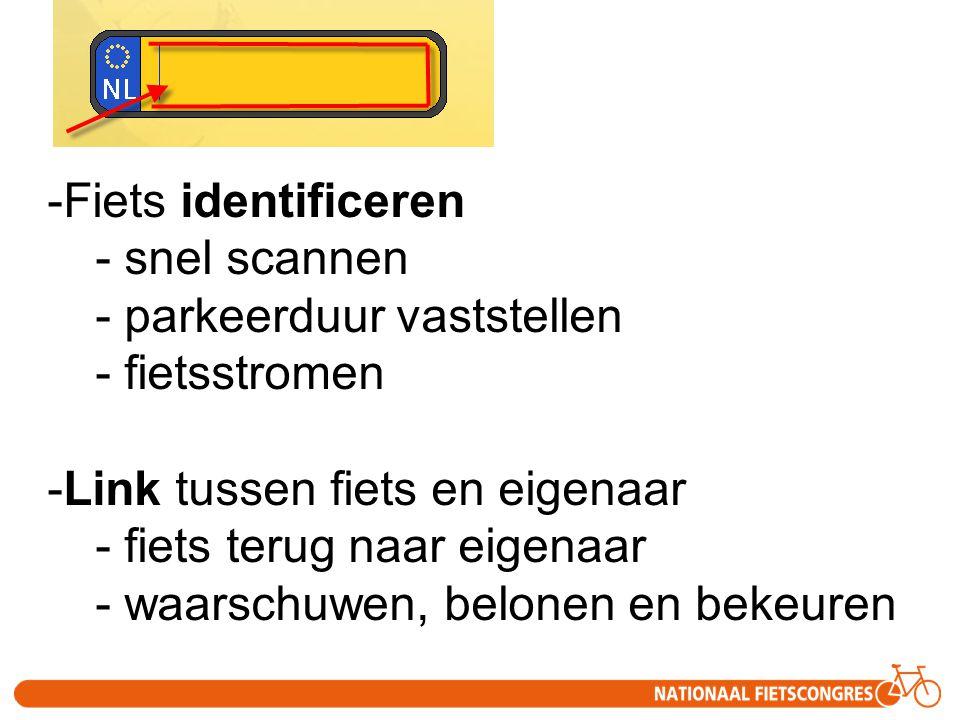 Fiets identificeren snel scannen. parkeerduur vaststellen. fietsstromen. Link tussen fiets en eigenaar.