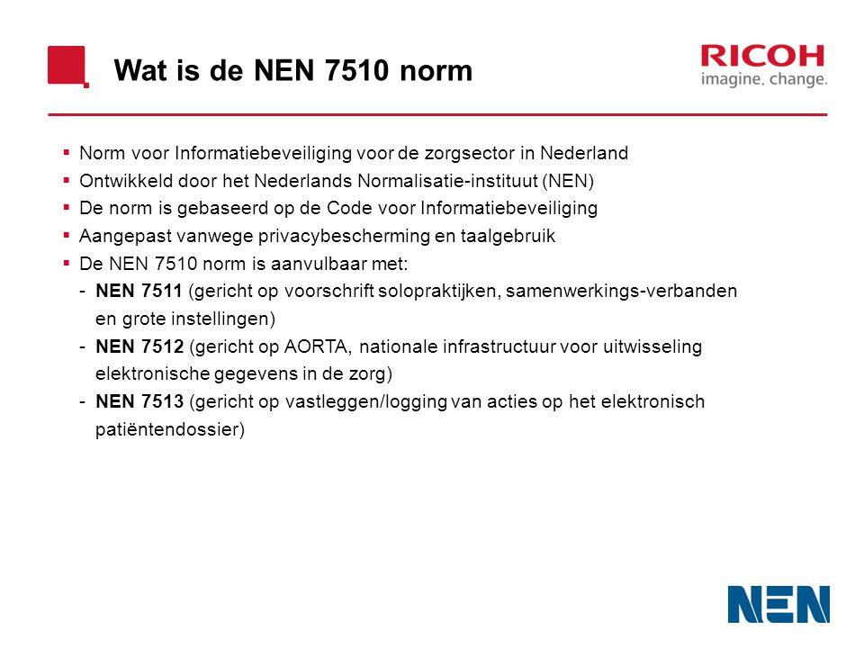 Wat is de NEN 7510 norm Norm voor Informatiebeveiliging voor de zorgsector in Nederland. Ontwikkeld door het Nederlands Normalisatie-instituut (NEN)