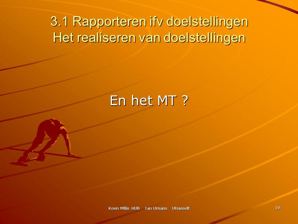 3.1 Rapporteren ifv doelstellingen Het realiseren van doelstellingen