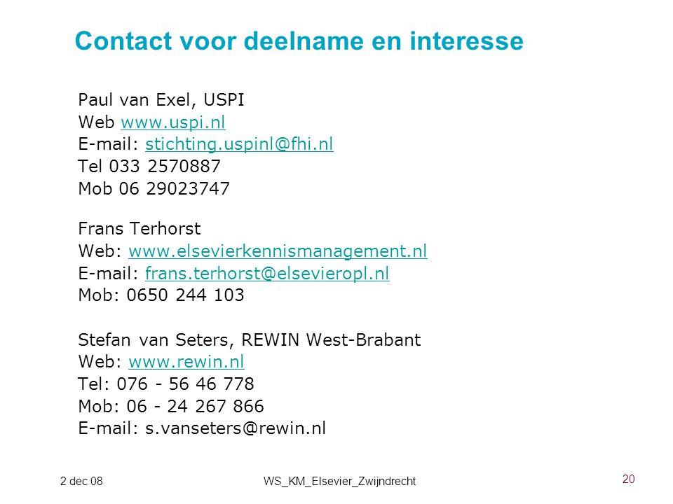 Contact voor deelname en interesse