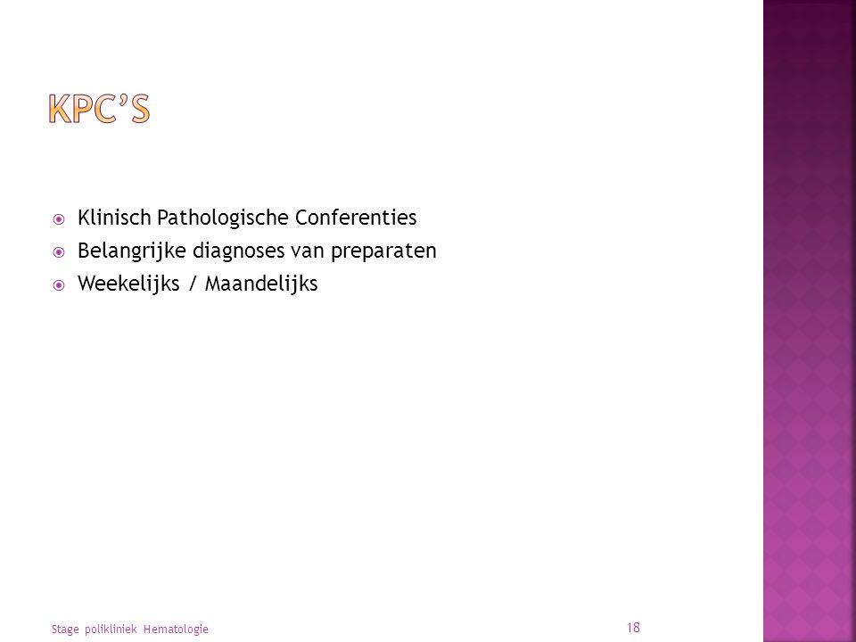 KPC's Klinisch Pathologische Conferenties