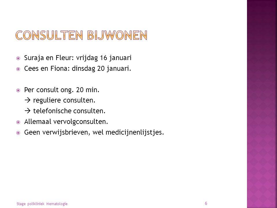 Consulten bijwonen Suraja en Fleur: vrijdag 16 januari