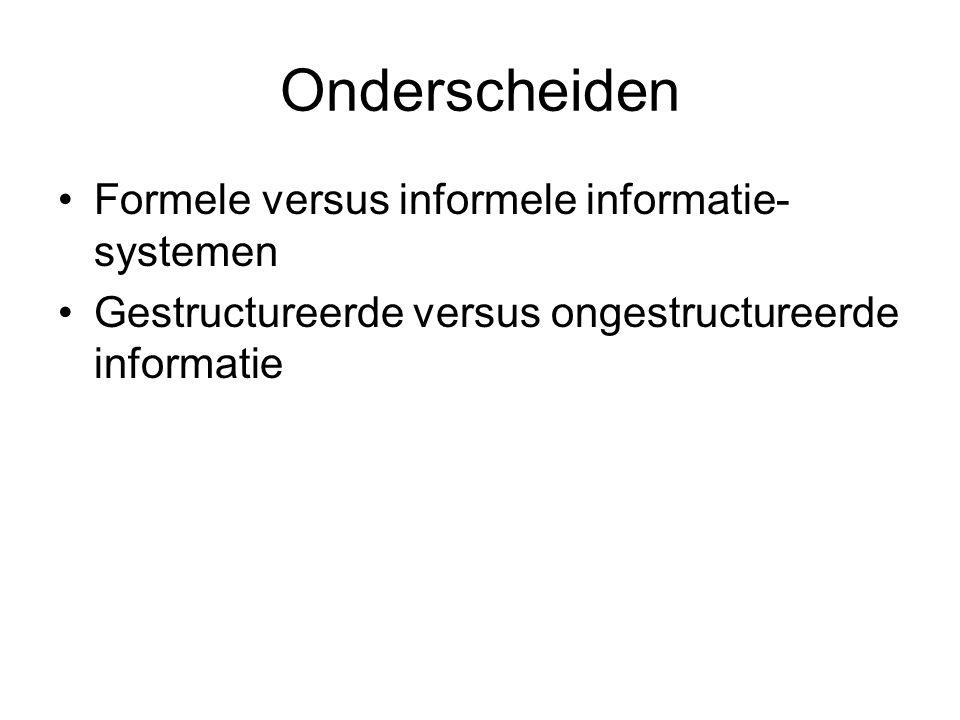 Onderscheiden Formele versus informele informatie-systemen