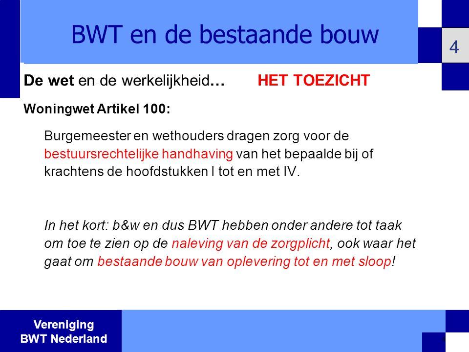 BWT en de bestaande bouw