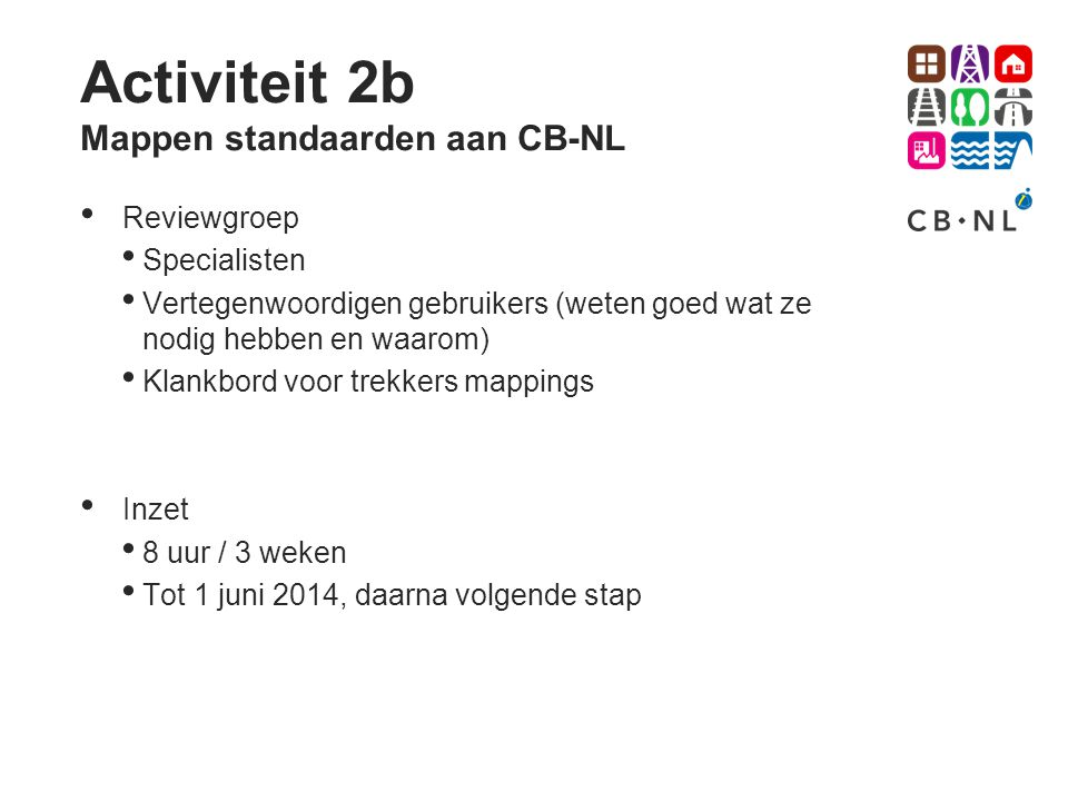 Activiteit 2b Mappen standaarden aan CB-NL