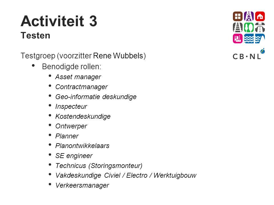 Activiteit 3 Testen Testgroep (voorzitter Rene Wubbels)