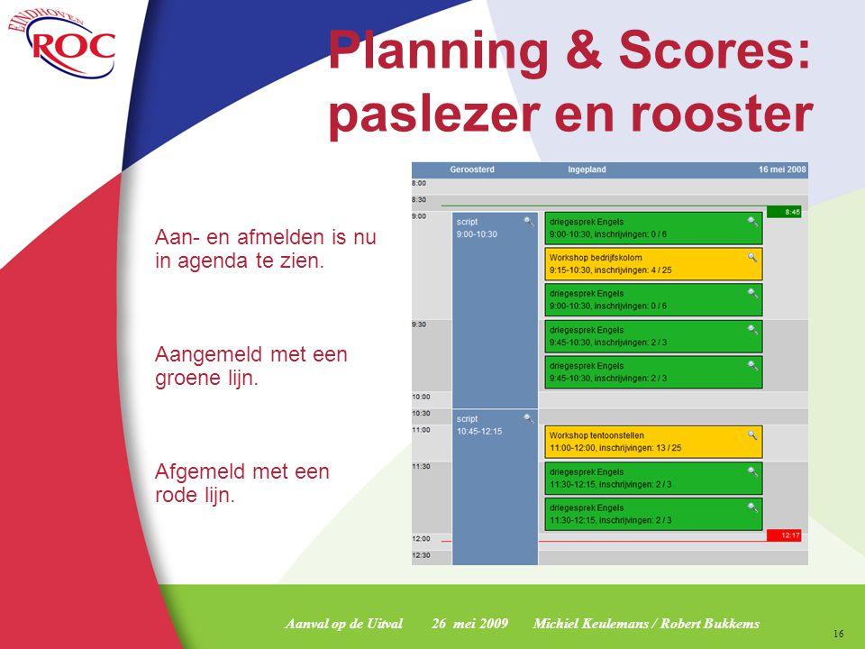 Planning & Scores: paslezer en rooster
