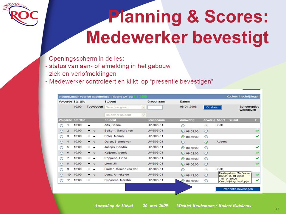 Planning & Scores: Medewerker bevestigt