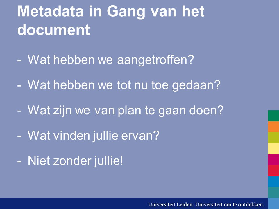 Metadata in Gang van het document