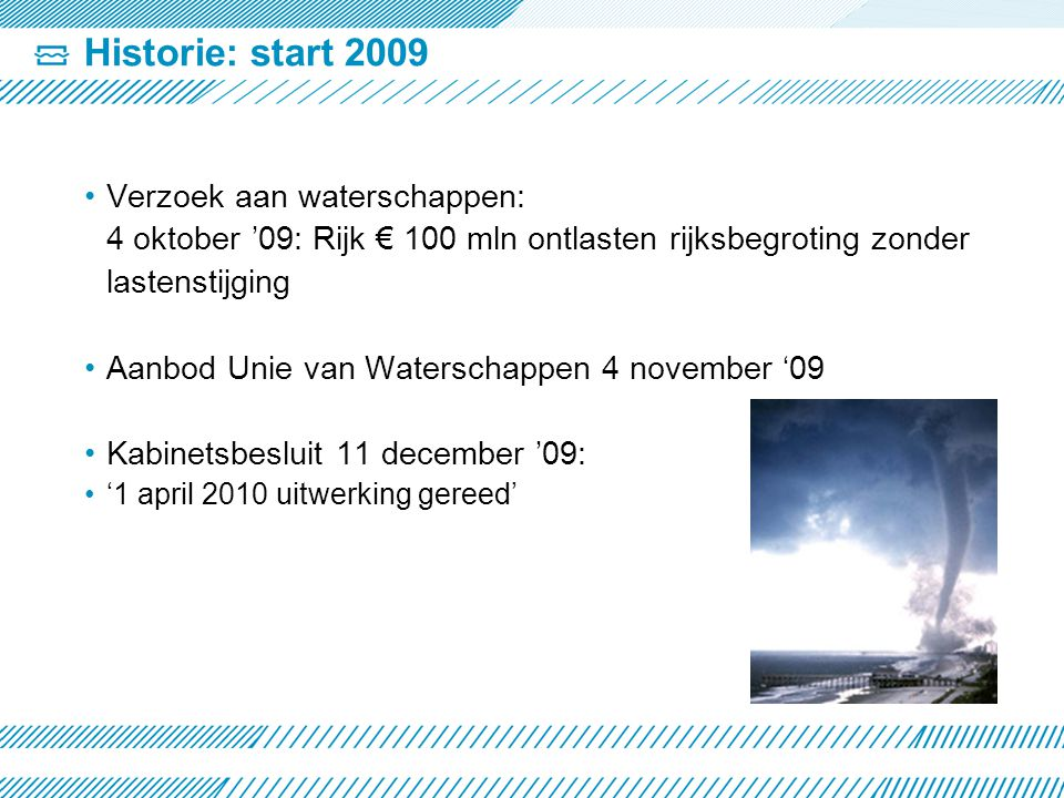 Historie: start 2009 Verzoek aan waterschappen: