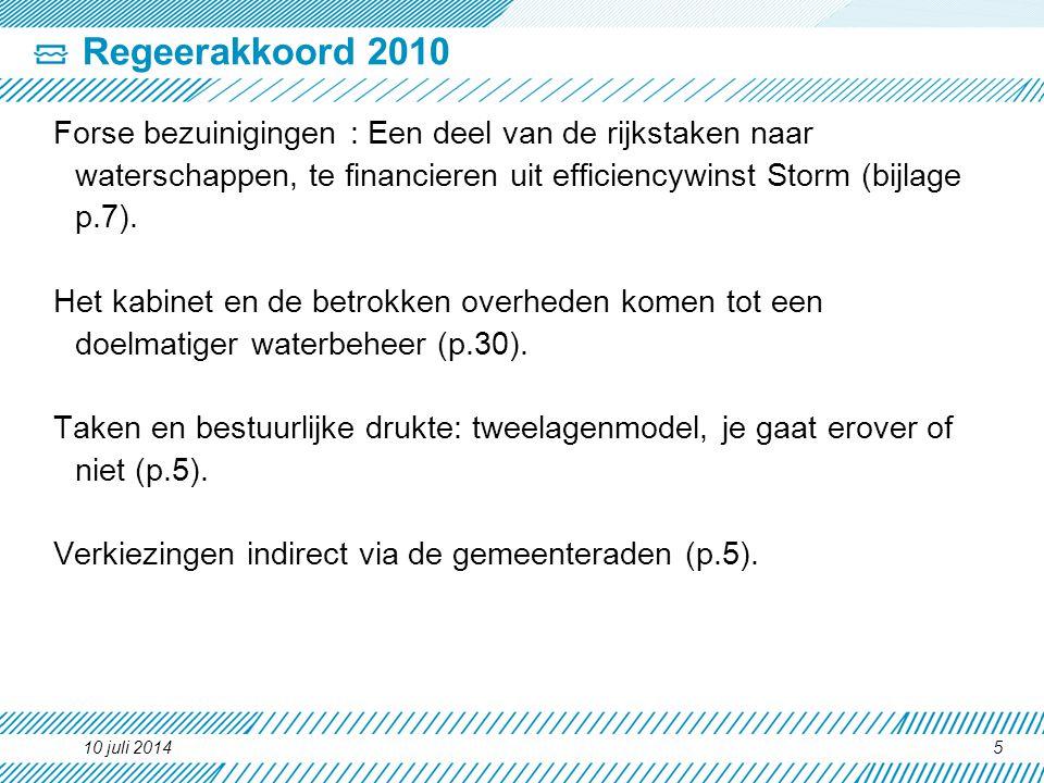 Regeerakkoord 2010 Forse bezuinigingen : Een deel van de rijkstaken naar waterschappen, te financieren uit efficiencywinst Storm (bijlage p.7).
