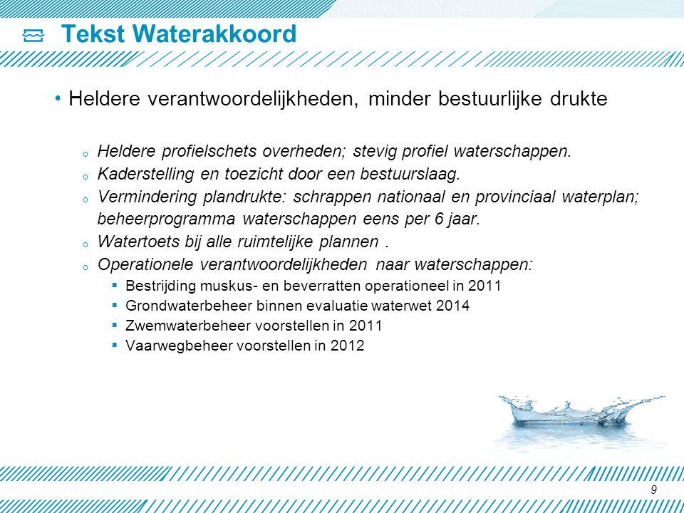 Tekst Waterakkoord Heldere verantwoordelijkheden, minder bestuurlijke drukte. Heldere profielschets overheden; stevig profiel waterschappen.