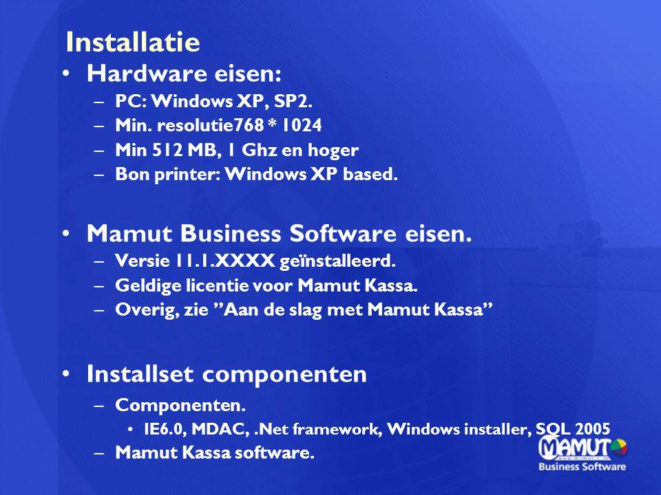 Installatie Hardware eisen: Mamut Business Software eisen.