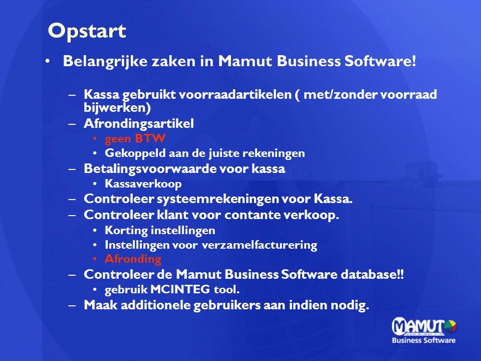 Opstart Belangrijke zaken in Mamut Business Software!
