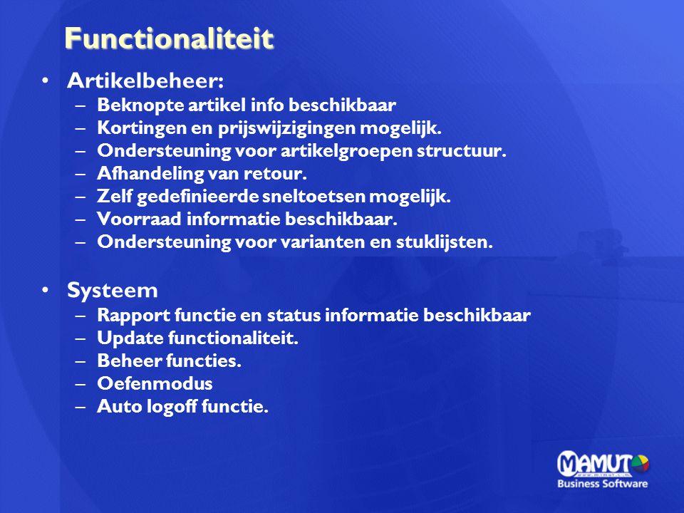Functionaliteit Artikelbeheer: Systeem