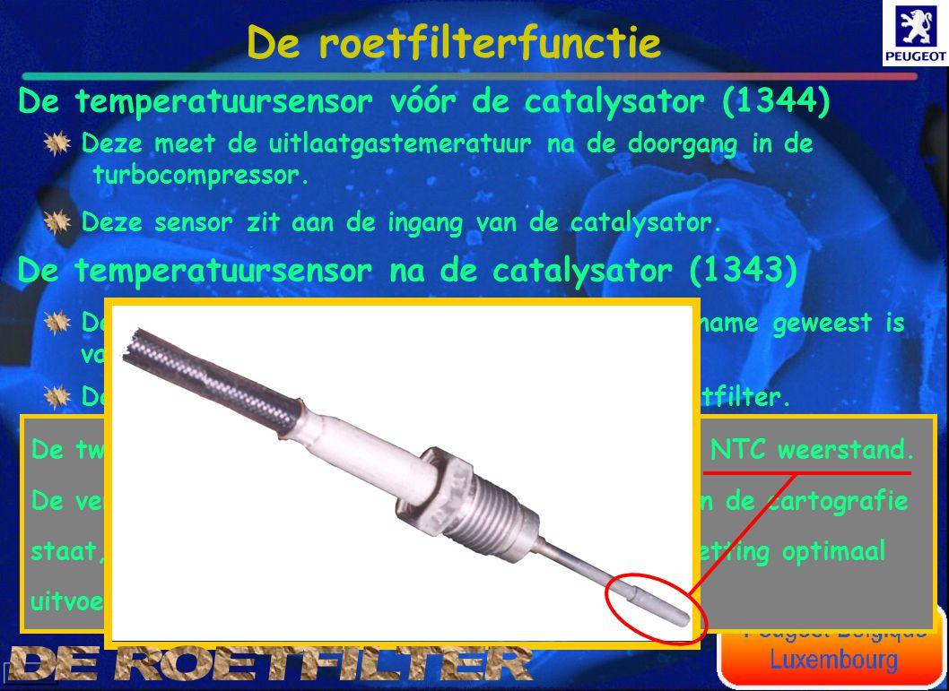 De roetfilterfunctie De temperatuursensor vóór de catalysator (1344)