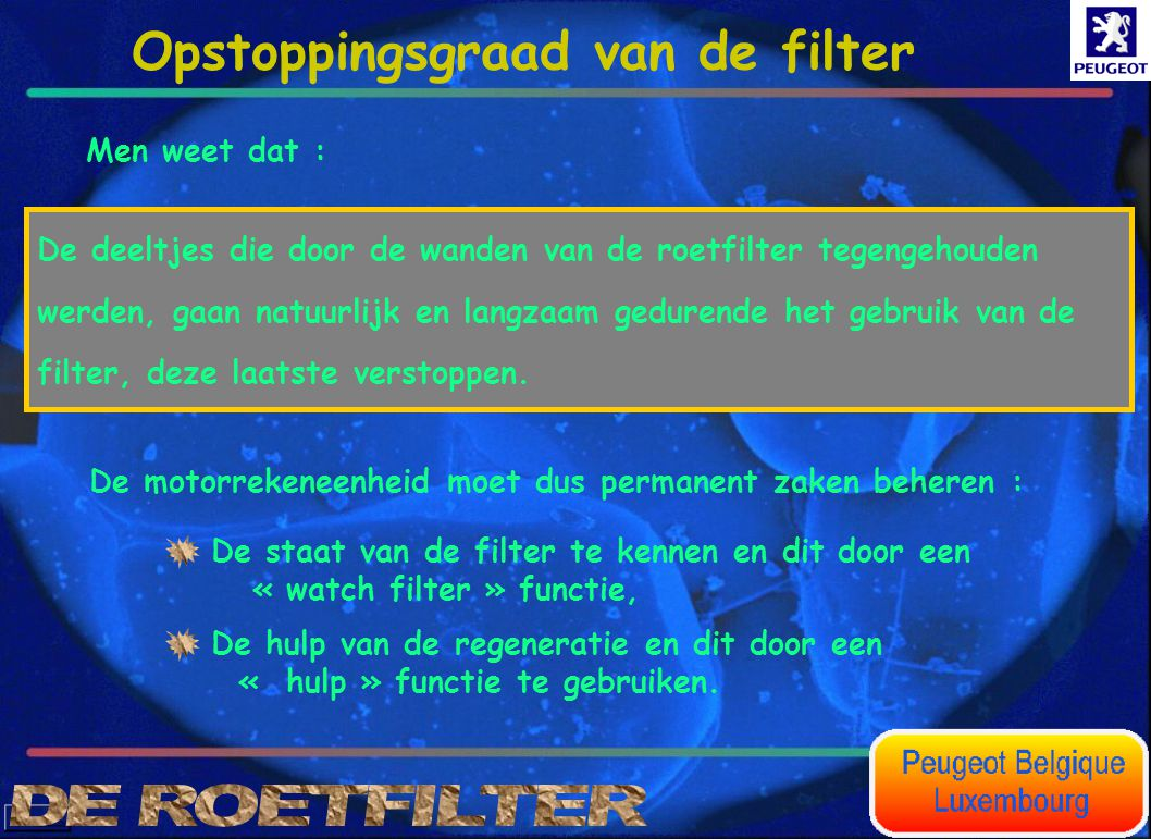 Opstoppingsgraad van de filter
