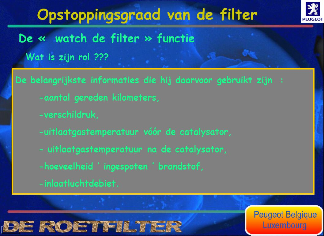 De « watch de filter » functie