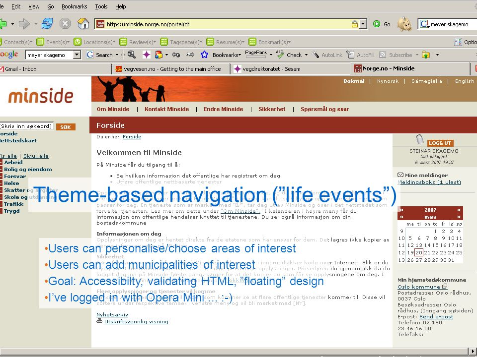 Theme-based navigation ( life events )