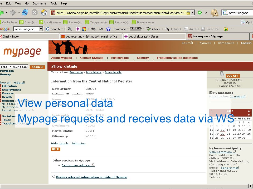 View personal data Mypage requests and receives data via WS
