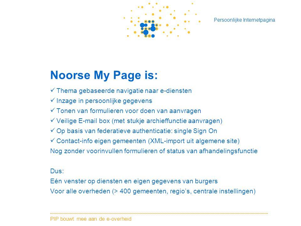 Noorse My Page is: Thema gebaseerde navigatie naar e-diensten