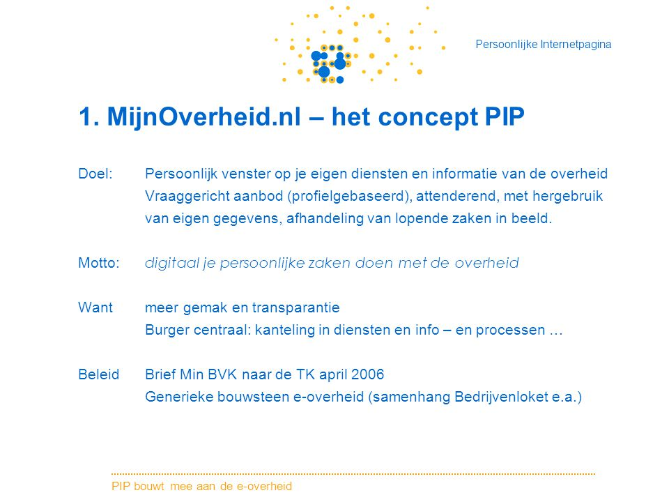 1. MijnOverheid.nl – het concept PIP