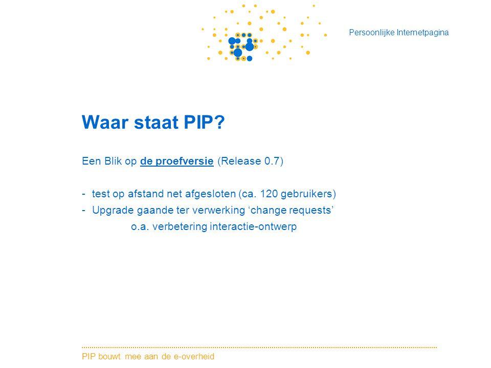 Waar staat PIP Een Blik op de proefversie (Release 0.7)