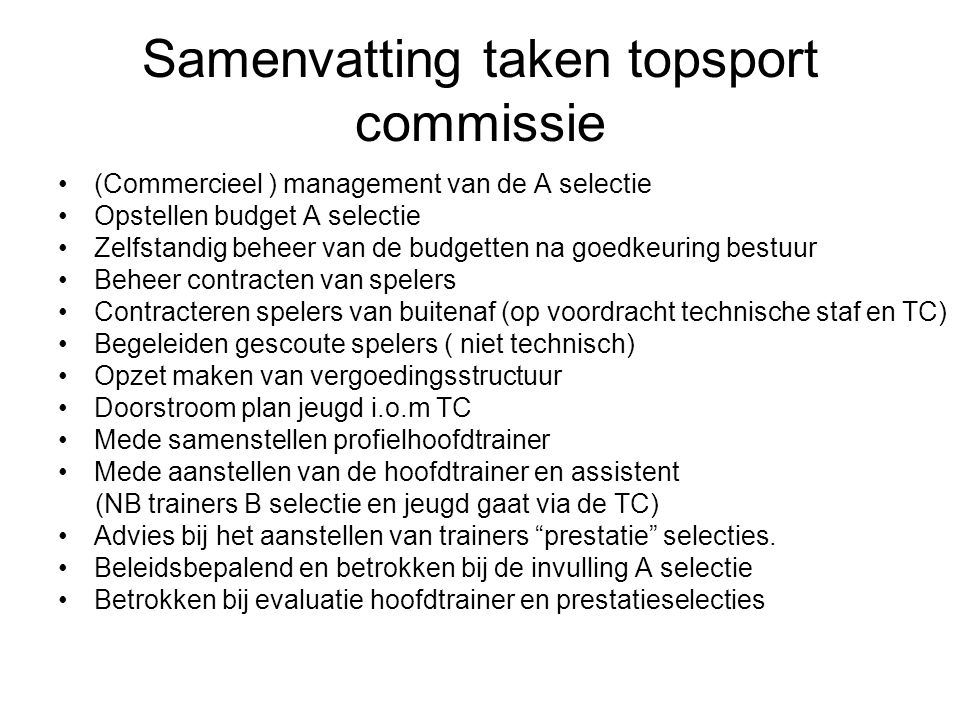 Samenvatting taken topsport commissie