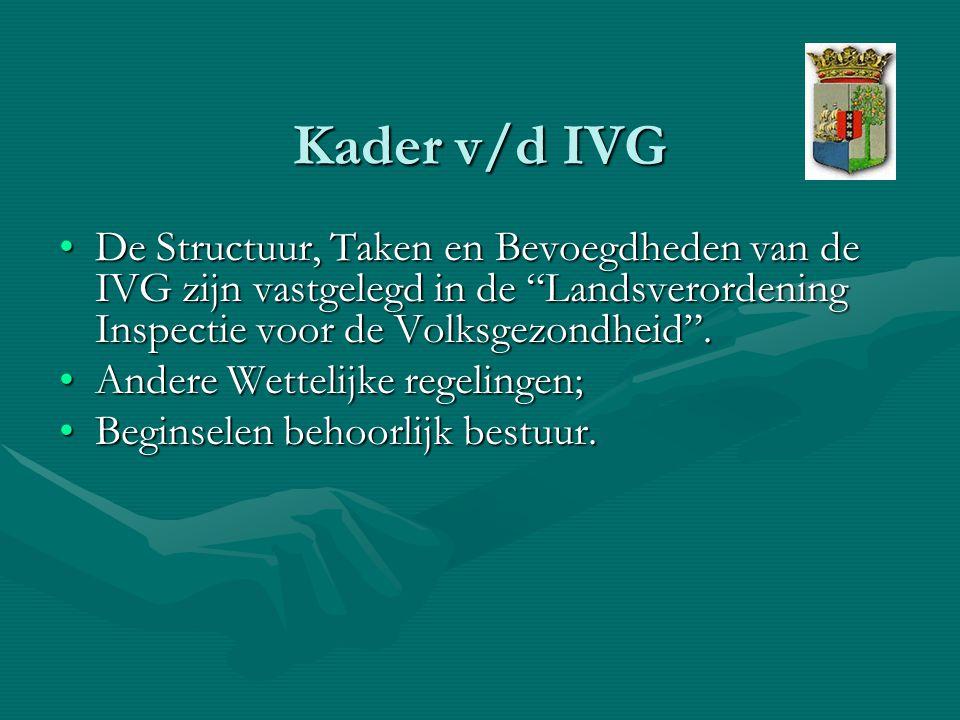 Kader v/d IVG De Structuur, Taken en Bevoegdheden van de IVG zijn vastgelegd in de Landsverordening Inspectie voor de Volksgezondheid .