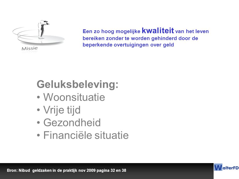 Geluksbeleving: Woonsituatie Vrije tijd Gezondheid Financiële situatie