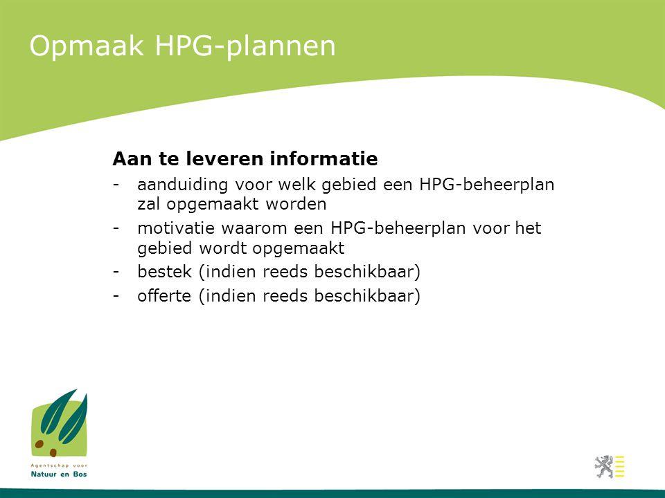 Opmaak HPG-plannen Aan te leveren informatie
