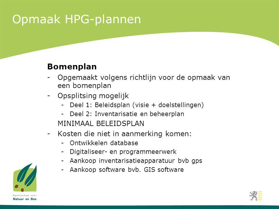Opmaak HPG-plannen Bomenplan