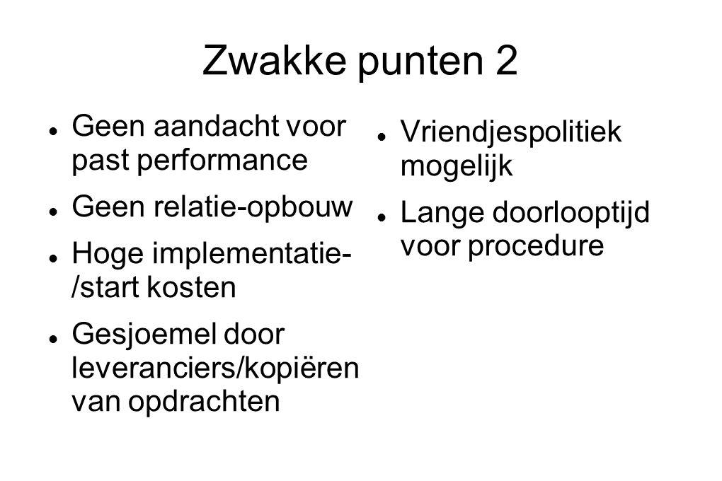 Zwakke punten 2 Geen aandacht voor past performance