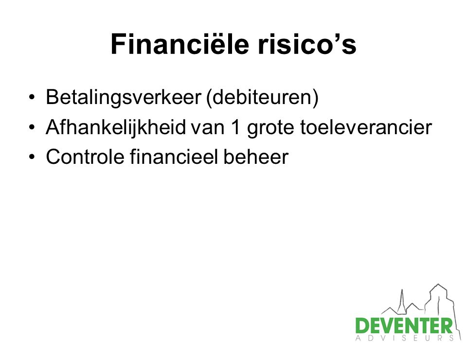 Financiële risico's Betalingsverkeer (debiteuren)