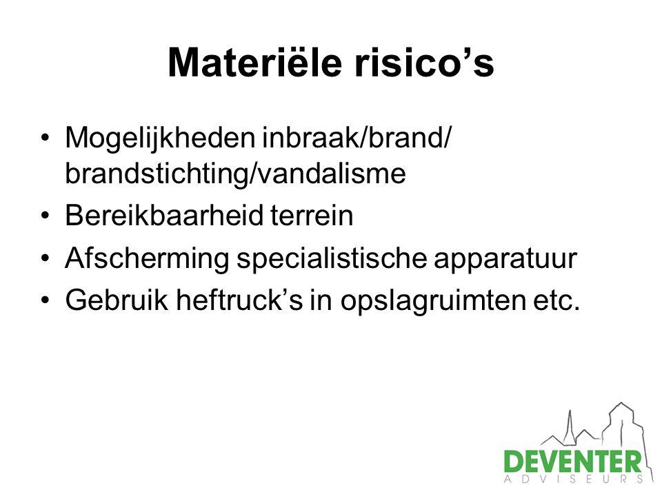 Materiële risico's Mogelijkheden inbraak/brand/ brandstichting/vandalisme. Bereikbaarheid terrein.