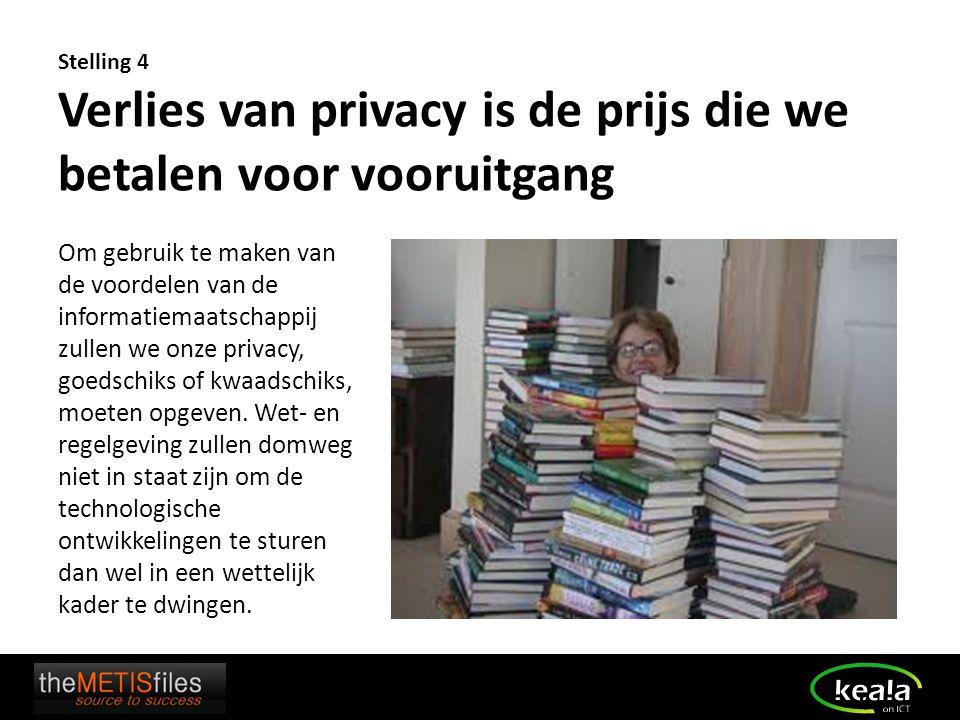 Stelling 4 Verlies van privacy is de prijs die we betalen voor vooruitgang