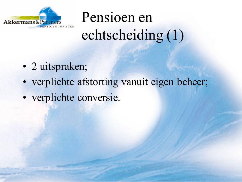 Pensioen en echtscheiding (1)