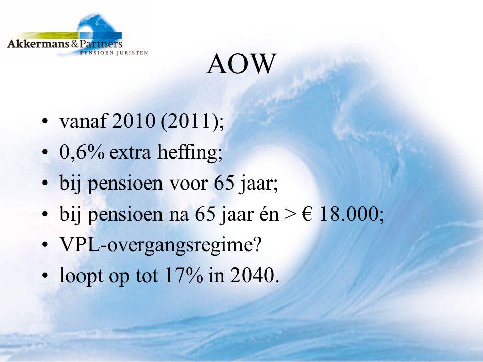 AOW vanaf 2010 (2011); 0,6% extra heffing; bij pensioen voor 65 jaar;