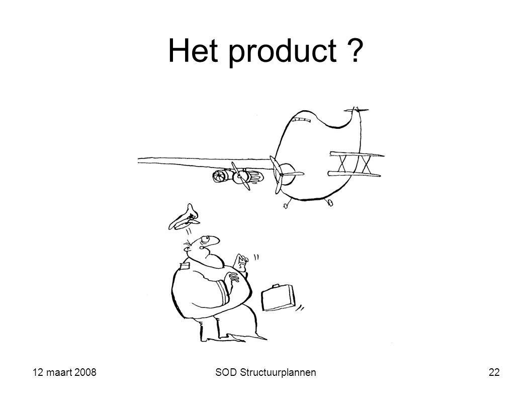 Het product 12 maart 2008 SOD Structuurplannen 12 maart 2008