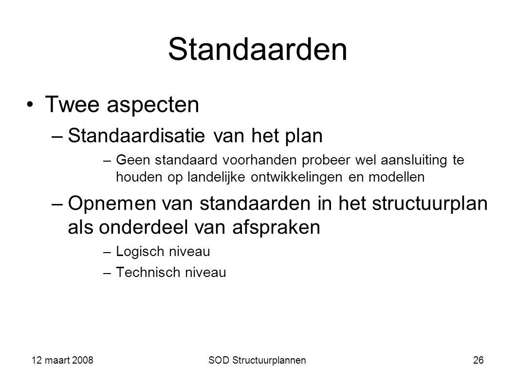 Standaarden Twee aspecten Standaardisatie van het plan