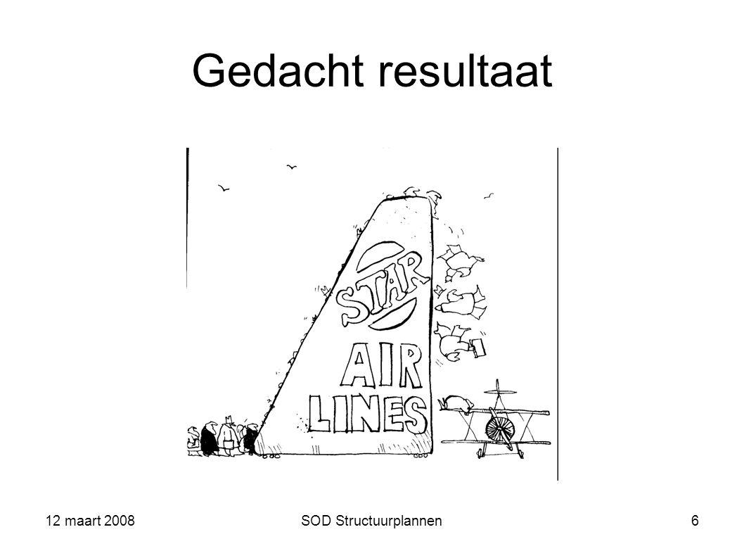 Gedacht resultaat 12 maart 2008 SOD Structuurplannen 12 maart 2008